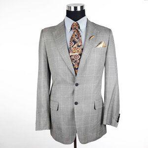 Ermenegildo Zegna Mens Houndstooth Silk Blazer 40L